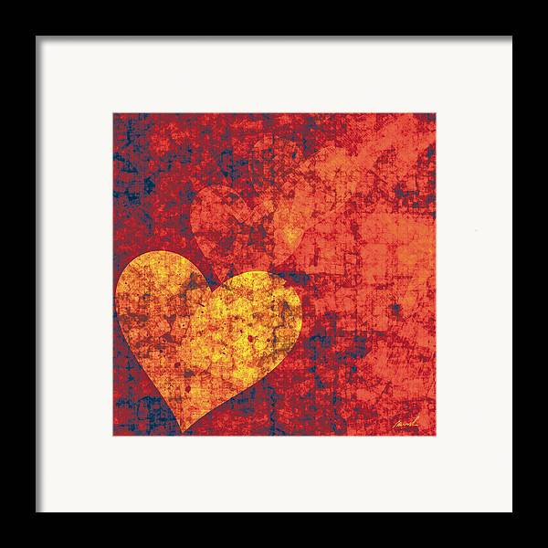 Hearts Framed Print featuring the painting Graffiti Hearts by The Art of Marsha Charlebois