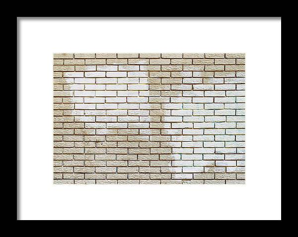 Graffiti Removal With White Paint Over Covering On Brick Wall Framed Print