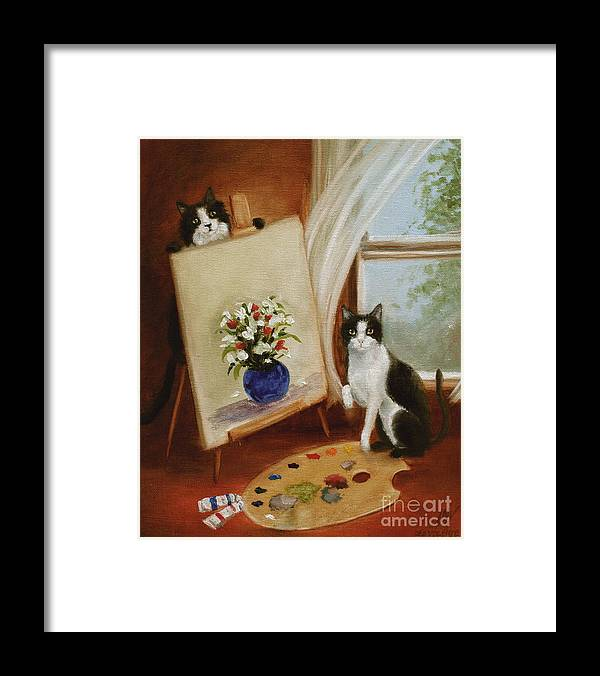 Cat Framed Print featuring the painting Graham's Cats The Artists by Stella Violano