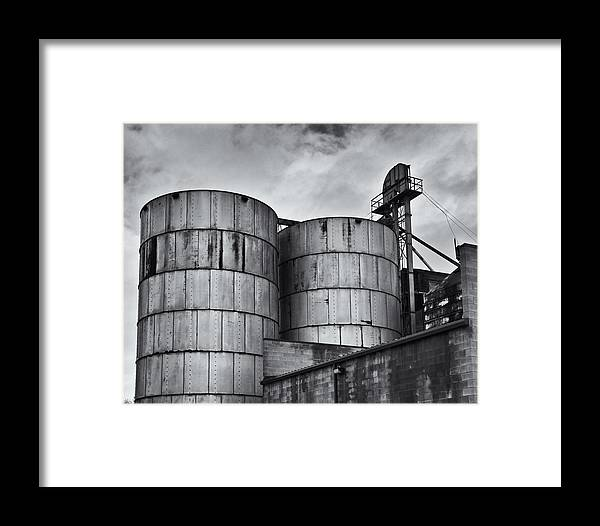 Black And White Framed Print featuring the photograph Grain Silos by Steve G Bisig