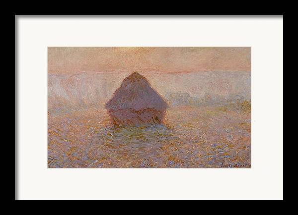 Monet Framed Print featuring the painting Grainstack Sun In The Mist by Claude Monet