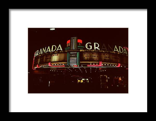 Granada Theater Framed Print featuring the photograph Night Lights Granada Theater by David Hohmann