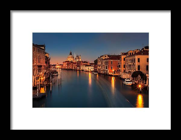 Old Framed Print featuring the photograph Grand Canal At Dusk by Mihai Andritoiu