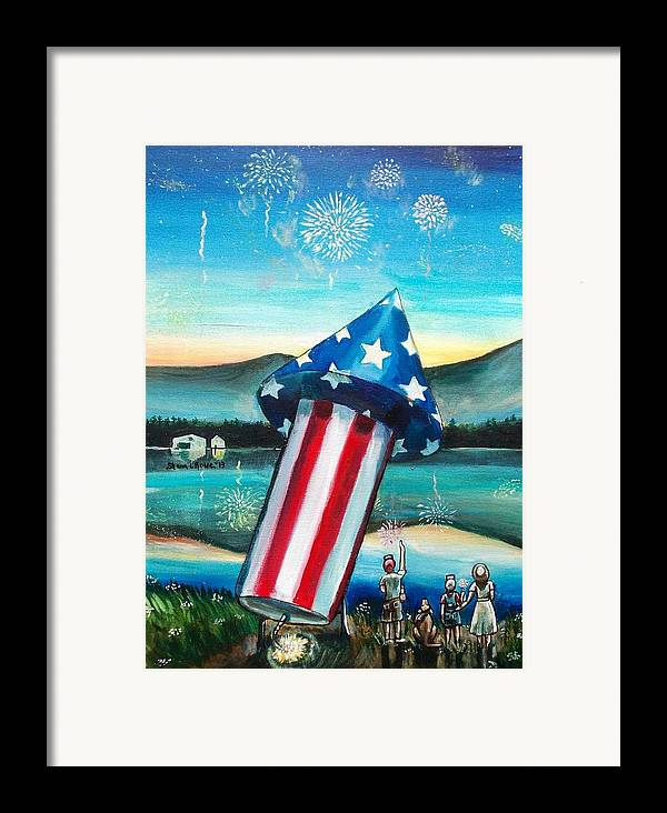 Firework Framed Print featuring the painting Grand Finale by Shana Rowe Jackson