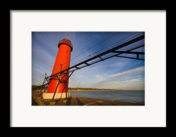 3scape Photos Framed Print featuring the photograph Grand Haven Lighthouse by Adam Romanowicz