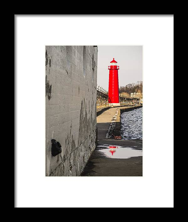 Grand Haven Framed Print featuring the photograph Grand Haven Lighthouse by Kirsten Dykstra