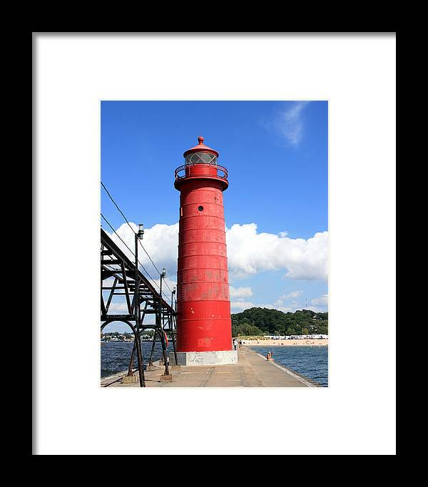 Light Framed Print featuring the photograph Grand Haven Rear Light by George Jones