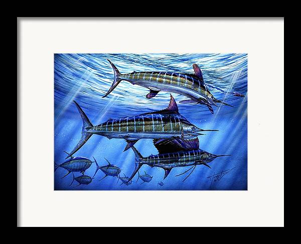 Blue Mrlin Framed Print featuring the painting Grand Slam Lure And Tuna by Terry Fox