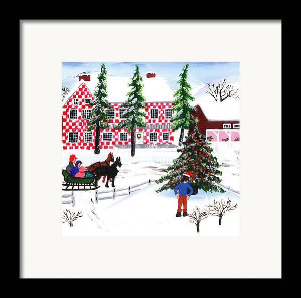 Grandma Moses Style Christmas Tree Scene Framed Print By E