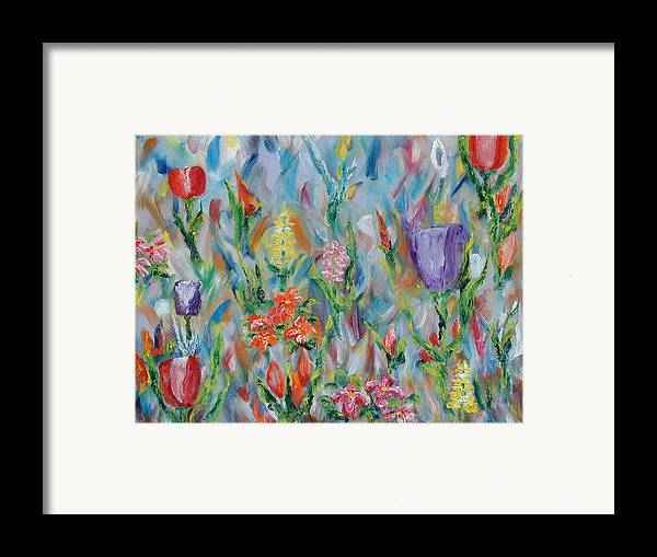 Landscape Framed Print featuring the painting Grandma's Garden by SheRok Williams