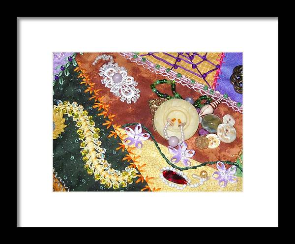 Quilt Framed Print featuring the photograph Granny's Crazy Quilt by Paula Talbert