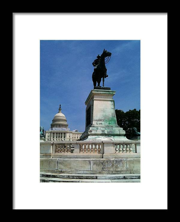 Grant Framed Print featuring the photograph Grant And The Capitol by Lois Ivancin Tavaf