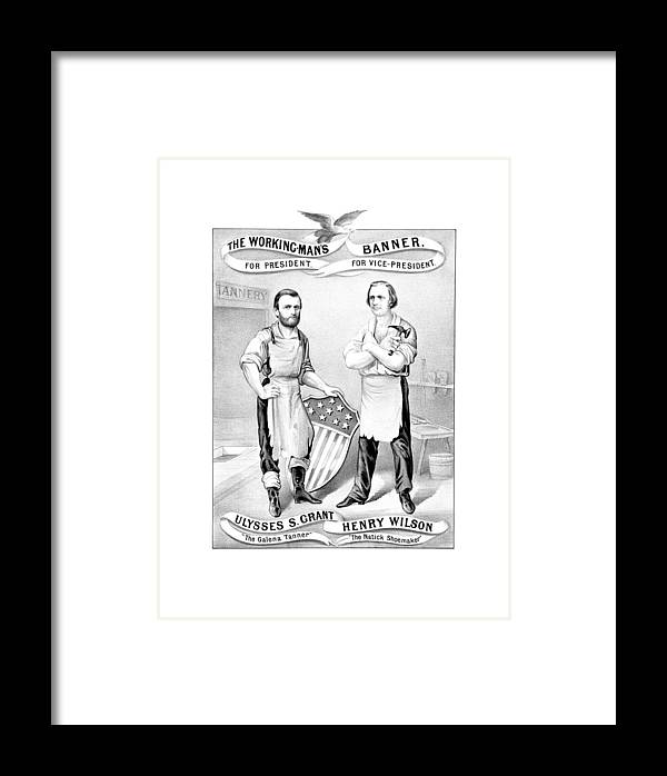 Ulysses S Grant Framed Print featuring the drawing Grant And Wilson 1872 Election Poster by War Is Hell Store