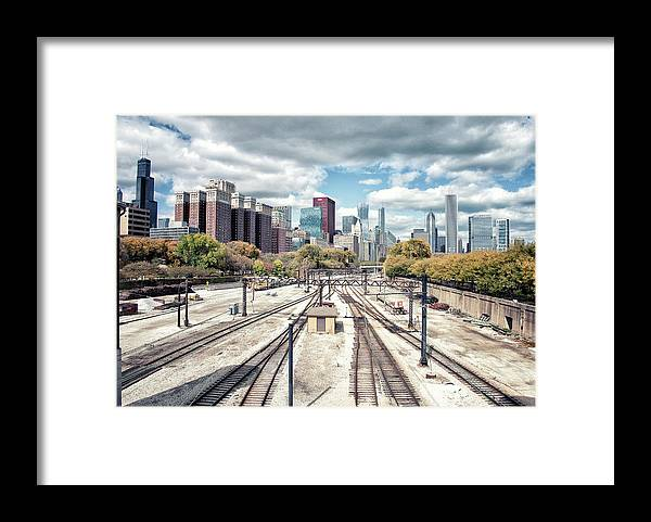 Tranquility Framed Print featuring the photograph Grant Park Railroad Tracks by Photographer Who Enjoys Experimenting With Various Styles.