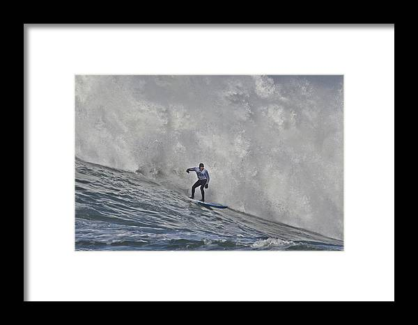 Mavericks Surf Contest Framed Print featuring the photograph Grant Washburn Racing For His Life At Mavericks by Scott Lenhart