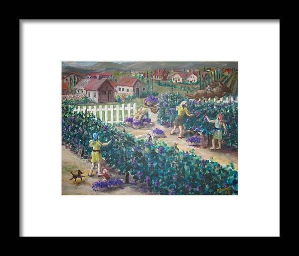 Grapes Tuscany Italy Wine Harvest Village Vino Framed Print featuring the painting Grape Harvest by Ronald Barnes