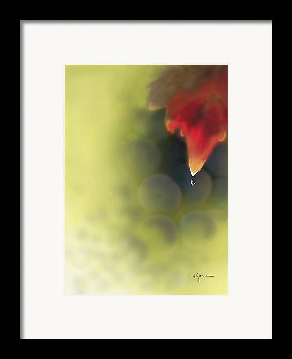 Grape Framed Print featuring the photograph Grape Leaf Water Drop by Kume Bryant