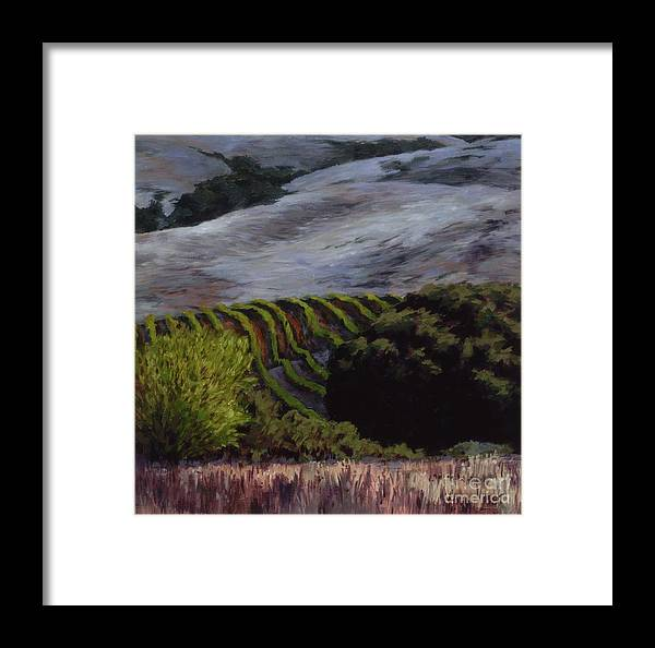 Landscape Framed Print featuring the painting Grapes And Oaks by Betsee Talavera