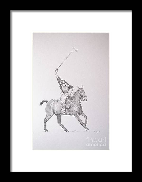 Roena King Framed Print featuring the drawing Graphite Drawing - Shooting For The Polo Goal by Roena King