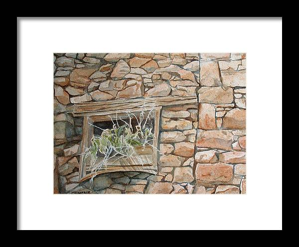 Wall Framed Print featuring the painting Grass In The Window by Jenny Armitage