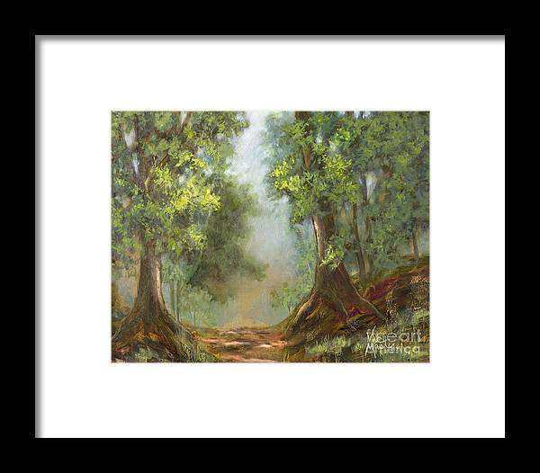 Woods Framed Print featuring the painting Gratifying Exploring- Sq With Gold Leaf By Vic Mastis by Vic Mastis