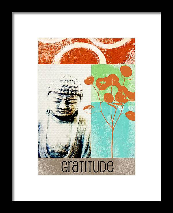 Gratitude Greeting Card Framed Print featuring the painting Gratitude Card- Zen Buddha by Linda Woods