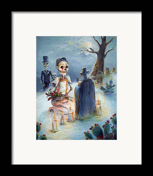 Skeletons Framed Print featuring the painting Grave Sight by Heather Calderon