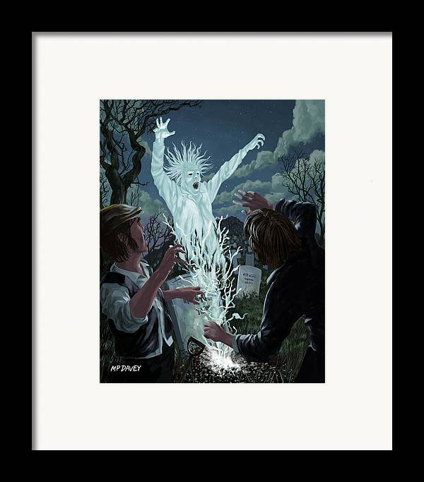 Graveyard Framed Print featuring the painting Graveyard Digger Ghost Rising From Grave by Martin Davey