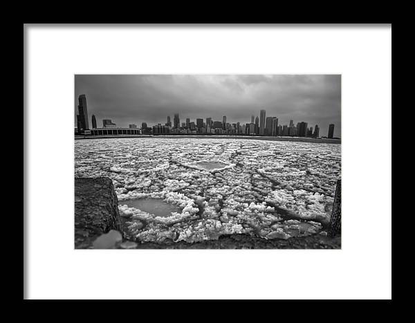 Monroe Harbor Framed Print featuring the photograph Gray Winter Chicago Skyline by Sven Brogren