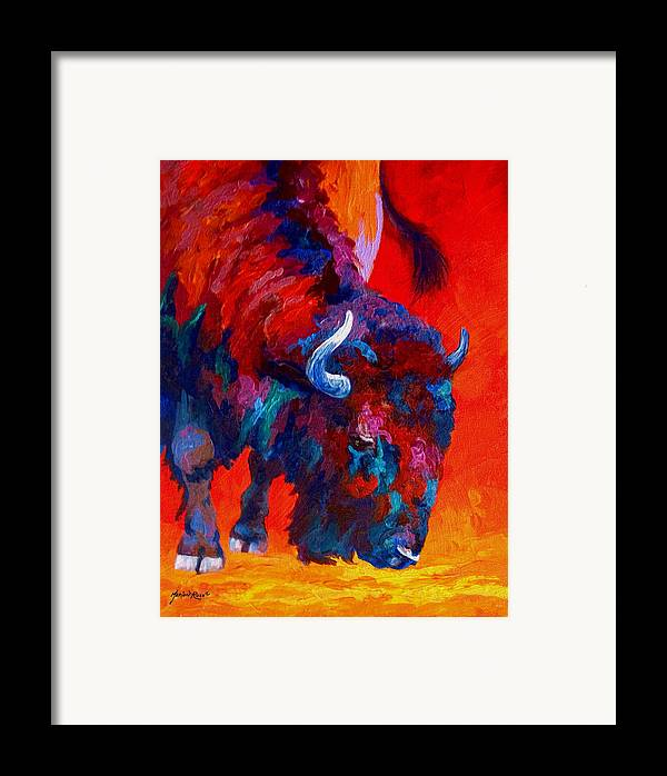 Bison Framed Print featuring the painting Grazing Bison by Marion Rose