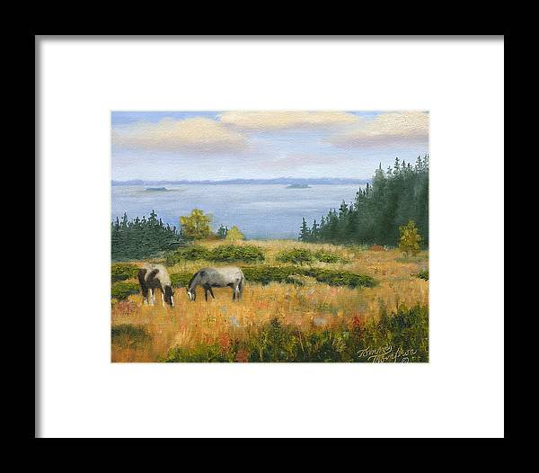 Landscape Framed Print featuring the painting Grazing With A View by Tommy Thompson