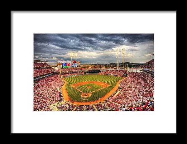 Cincinnati Reds Framed Print featuring the photograph Great American Ballpark by Shawn Everhart