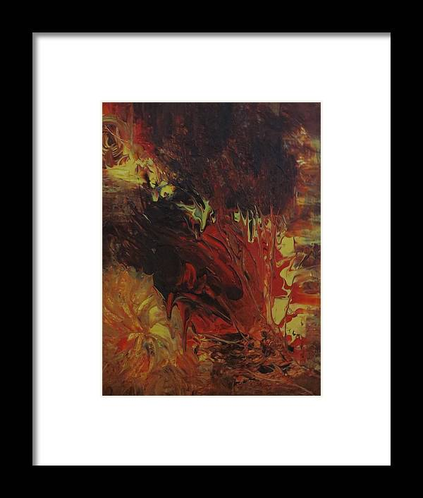 Abstract Framed Print featuring the painting Great Ball Of Fire by Soraya Silvestri