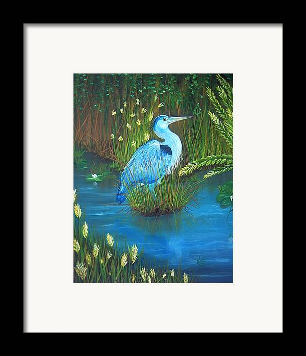 Birds Framed Print featuring the painting Great Blue Heron by Kathern Welsh