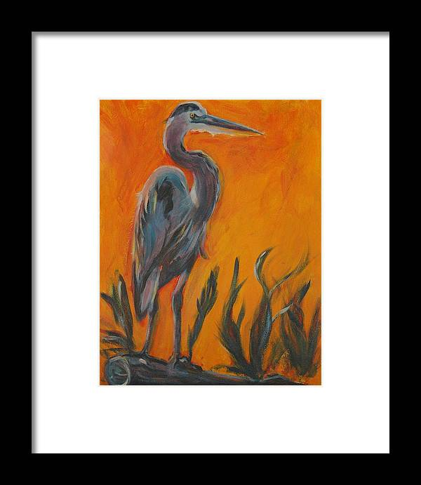 Wildlife Framed Print featuring the painting Great Blue by Stephanie Allison