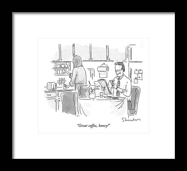 Coffee Framed Print featuring the drawing Great Coffee by Danny Shanahan