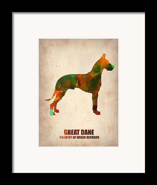 Great Dane Framed Print featuring the painting Great Dane Poster by Naxart Studio