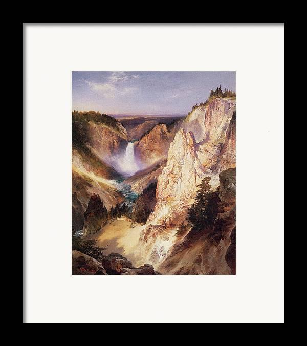 Thomas Moran Framed Print featuring the digital art Great Falls Of Yellowstone by Thomas Moran