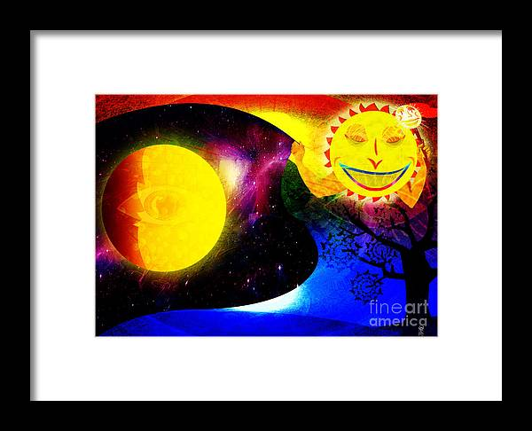 Sun Framed Print featuring the painting Great Sun Jester And The Night Sky by Neil Finnemore