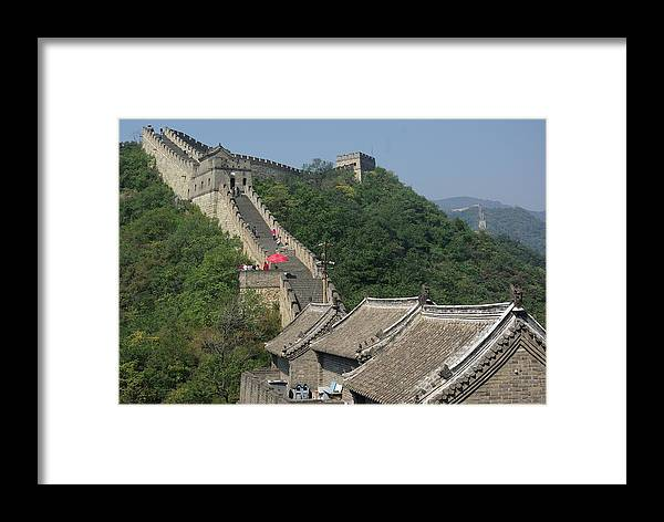 Great Wall Framed Print featuring the photograph Great Wall Red Umbrella by Andy Fletcher