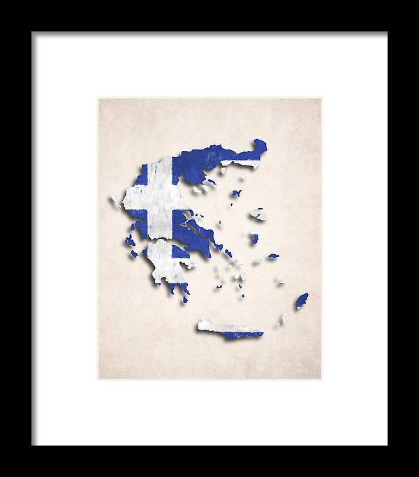 Greece Map Art With Flag Design Framed Print on map flags, map design, antique maps and prints, map clothing, map of california, map accessories, map home decor, map wedding, map medieval prints, map craft prints,