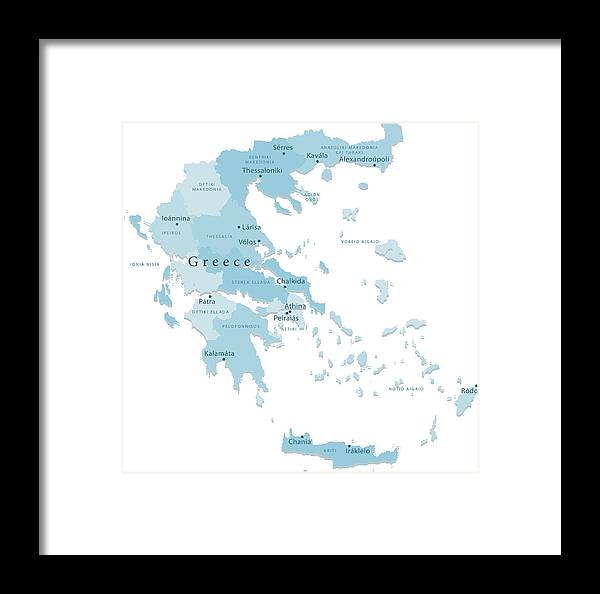 Greece Vector Map Regions Isolated Framed Print By Frankramspott