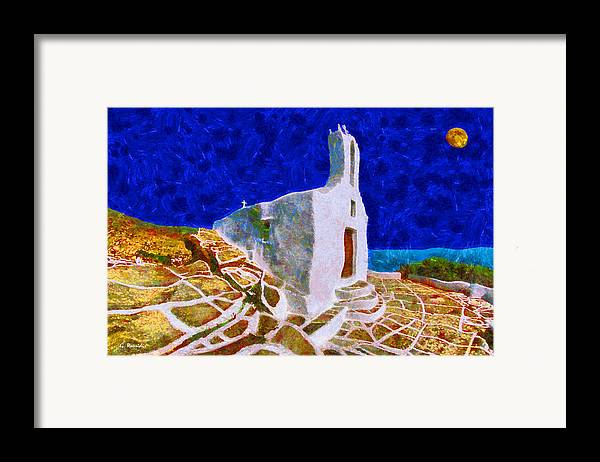 Rossidis Framed Print featuring the painting Greek Church 5 by George Rossidis