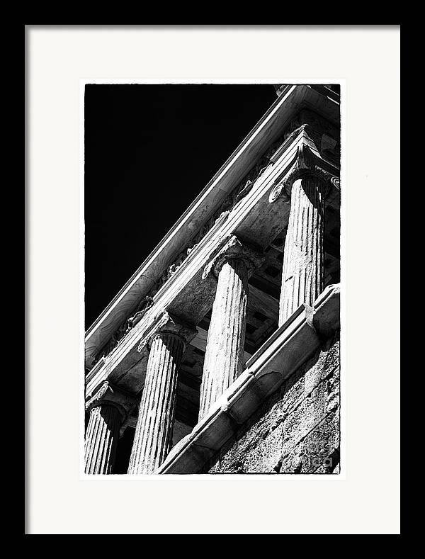 Greek Columns Framed Print featuring the photograph Greek Columns by John Rizzuto