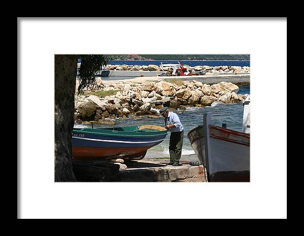 Boat Framed Print featuring the photograph Greek Fisherman by Patz Turner