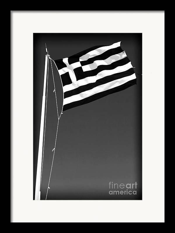 Greek Flag Framed Print featuring the photograph Greek Flag by John Rizzuto