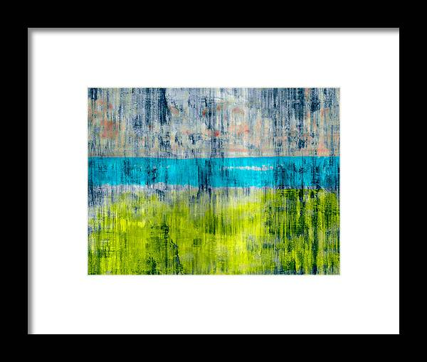 Color Framed Print featuring the digital art Green and blue by Joseph Ferguson