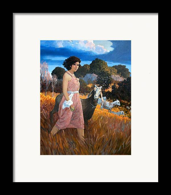 Woman Framed Print featuring the painting Green Apple by Kevin Lawrence Leveque