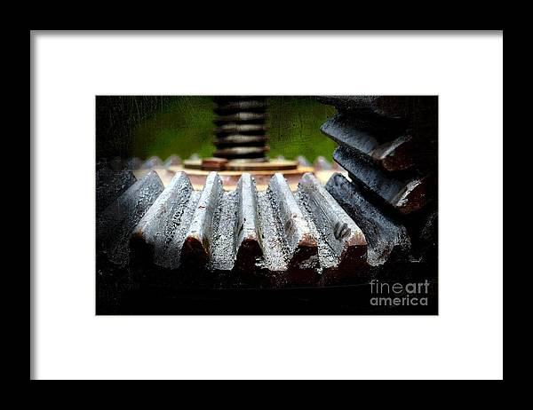 Green Framed Print featuring the photograph Green Apple Press by The Stone Age