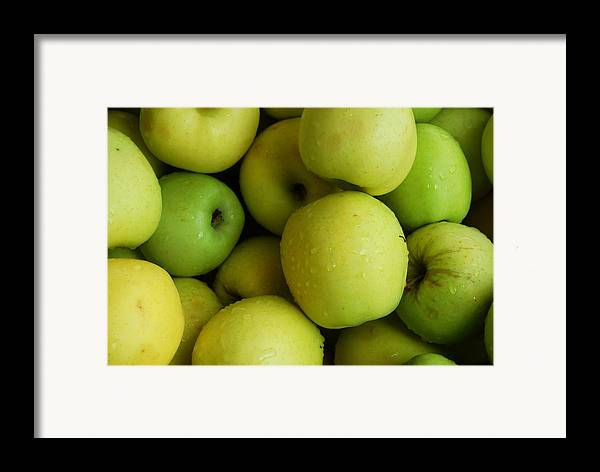 Green Apples Framed Print featuring the photograph Green Apples by Mamie Gunning